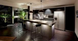 eclairage bar cuisine cuisines cuisines moderne sombre plante palme eclairage inox