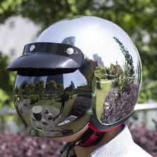Mirror Silver Chrome Vespa Open Face Motorcycle Motorbike Helmet Harley Retro Moto Helmets Casque Casco Capacete Motoqueiro DOT In From Automobiles