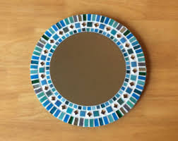 Blue Mosaic Bathroom Mirror by Mosaic Mirror Etsy