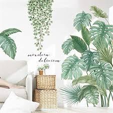 lucasng diy groß wandtattoo wandaufkleber grüne pflanze blätter schildkrötenblatt wandsticker wanddeko für wohnzimmer schlafzimmer flur kühlschrank