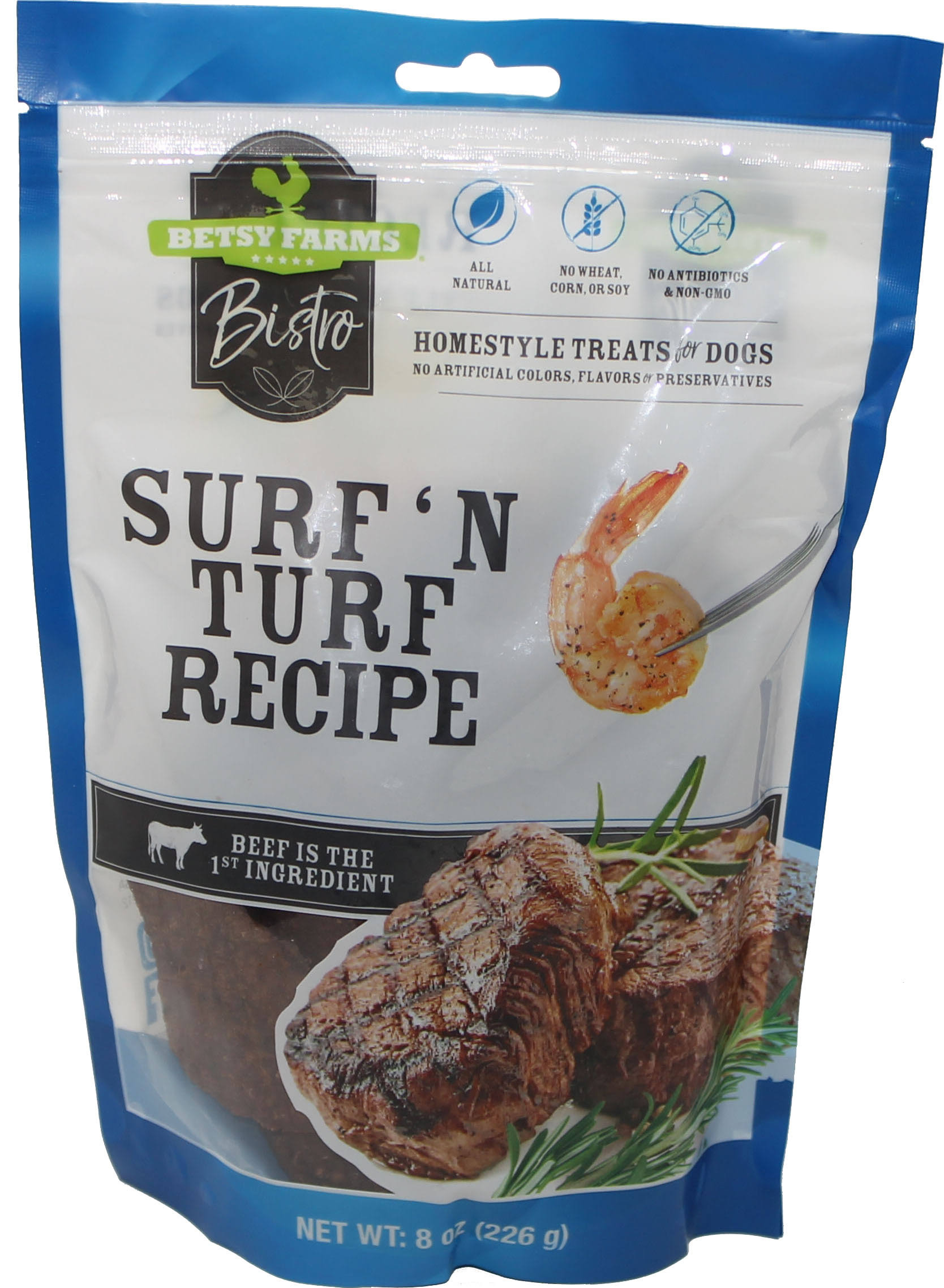 Betsy Farms Bistro Treats for Dogs, Homestyle, Surf 'N Turf Recipe - 8 oz