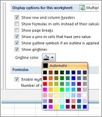 Gridline Color Settings In The Excel Options Dialog Box