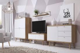 selsey wohnwand wohnzimmer set scandi ii mit aufbewahrungsschrank sideboard tv lowboard wandregal in weiß matt sonoma eiche