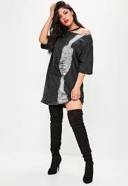 plus size black tie dye corset t shirt dress missguided