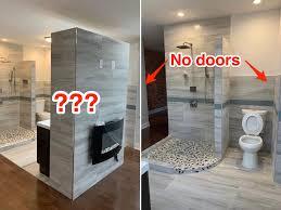 master suite with open concept bathroom has no doors or