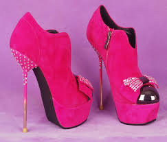 pink suede metal heel stilettos with glass beads and bow detail