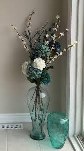 Sea Glass Floor Vase With Flowers