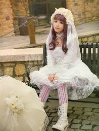 wedding dress white lace hime long sleeve high low one