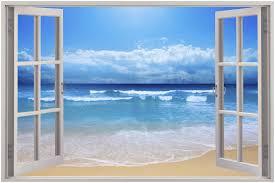 huge 3d window view exotic beach wall sticker film mural art decal