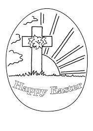 Happy Easter Coloring Page Cross Religious Pages Printable