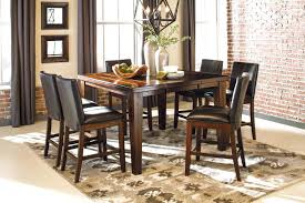 7 Pieces Dining Room Set Burnished Dark Brown Piece