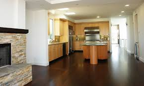 oak cabinets with wood floors