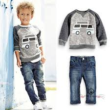 Fall Winter Baby Boys Denim Sets Clothes Kid Car Cartoon Sweat T Shirts Jeans Trousers Track Suits Vetement Enfant Garcon Outfit In Clothing From