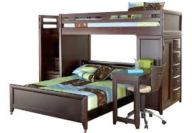 Ivy League Cherry Twin Full Step Loft Bunk with Chest and Desk