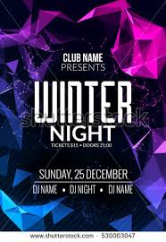 Dance Party Dj Battle Poster Design Winter Cold Ice Disco Music Event