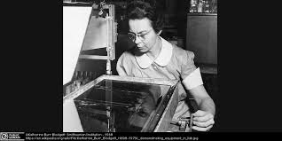 Black And White Photograph Of Katharine Burr Blodgett Working At General Electric Research Laboratories