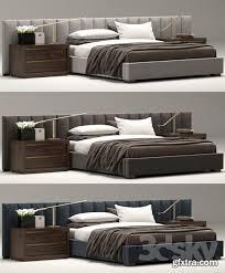 RH Modern custom vertical channel extended headboard bed 3d Model