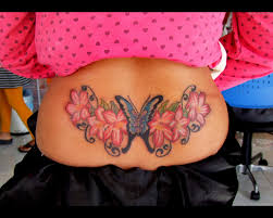 Butterfly N Flowers Tattoo Design On Lower Back Photo