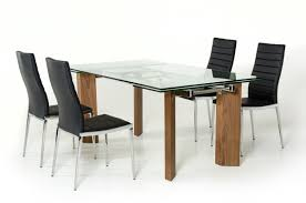 Dining Sets With Chairs Modern Glass Top Extendible Table