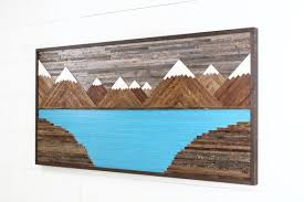 Glacier Mountain Landscape Wood Wall Art Reclaimed Rustic Large