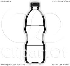 Clipart of a Black and White Water Bottle and Gray Outline Royalty Free Vector Illustration by Lal Perera