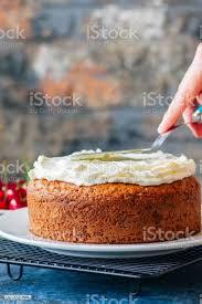 frau mit spachtel hausgemachte saure sahne kuchen mit frischkäse zuckerguss verzieren stockfoto und mehr bilder braun