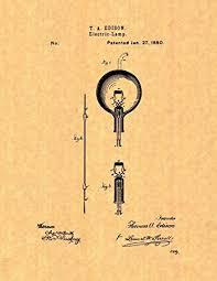 edison light bulb patent print poster 8 5