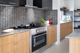 The Use Of Raw Natural Stone Mosaic Tiles For Example Create Texture And Provide Perfect Contrast To Simple Solid Block Colour Cabinets That May