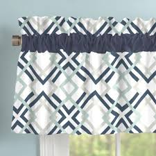Navy Geometric Pattern Curtains by Navy And Gray Geometric Window Valance Rod Pocket Carousel Designs