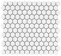 white hexagon glazed ceramic mosaic floor and wall tile