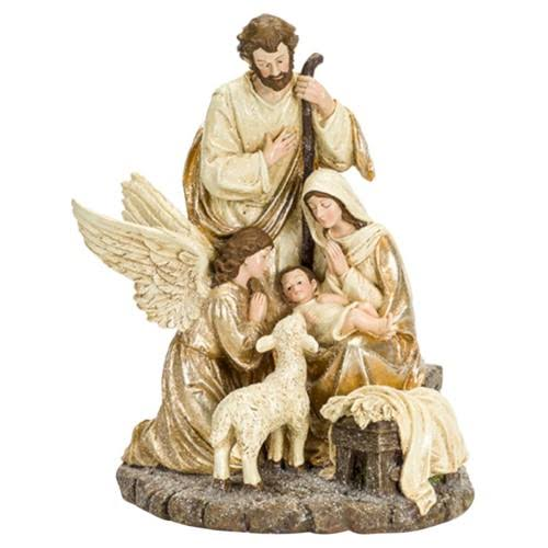 Melrose International Holy Family Figurine - With Angel And Lamb