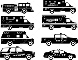 Set Of Different Silhouettes Fire Truck, Police And Ambulance Cars ...