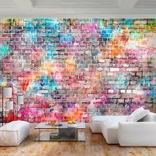 details zu vlies fototapete ziegelwand bunt steine tapete wandbilder wohnzimmer