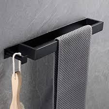 temgin handtuchhalter ohne bohren mit haken schwarz 40cm edelstahl gästehandtuchhalter bad handtuchstange selbstklebend für badezimmer küche