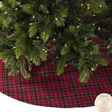 Saro Plaid Christmas Tree Skirt