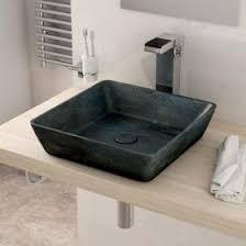 vasque à poser en marbre bleu 40x40 cm avec bonde sorbo