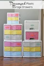 Decorating Fabric Storage Bins by Love This Great Way To Dress Up Those Ugly Plastic Drawers