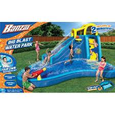 Banzai Big Blast Water Park Inflatable Slide Lagoon Splash Pool Basketball Hoop