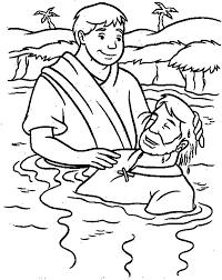 Baptism Gospel Of Matthew Jesus Coloring Pages