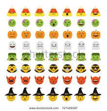 Devil Emoji Pumpkin Carving by Set Emoji Halloween Emoticon Characters Stock Vector 727486507