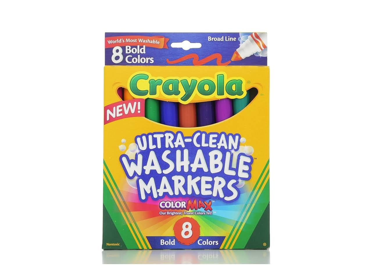 Crayola Broad-Line Washable Markers - Bold Colors, 8pcs