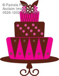 Clip Art Illustration of 3 Layered Fondant Bakery Cake