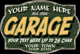 Personalized Vintage Garage Sign Garage Shop Personalized