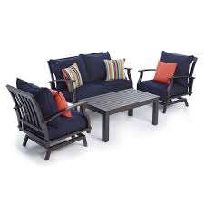 Lowes Canada Patio Furniture by Shop Allen Roth Gatewood 4 Piece Conversation Set At Lowe U0027s