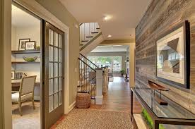 Reclaimed Wood Walls Accent This Hallway Space