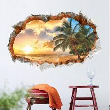 großhandel coconut 3d wandtattoos pvc selbstklebende natur landschaft wandkunst aufkleber für wohnzimmer schlafzimmer dekoration