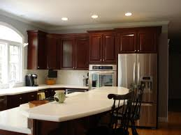 kitchen colors with cherry cabinets brown varnished wood kitchen