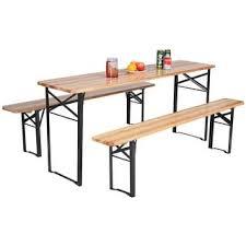 Shop Costway 3 PCS Beer Table Bench Set Folding Wooden Top Picnic Patio Garden