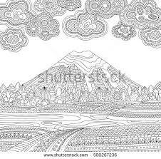 Printable Coloring Page For Adults With Mountain Landscape Lake Flower Meadow Forest
