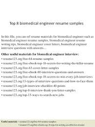 Resume Samples With Photo Top 8 Biomedical Engineer In This File You Can Ref Materials For Free Modern Template